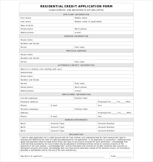 15 Credit Application Templates Free Sample Example Format – Account Form Template