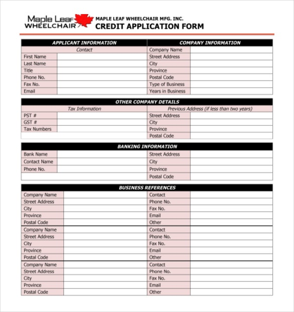free sample microsoft credit application form