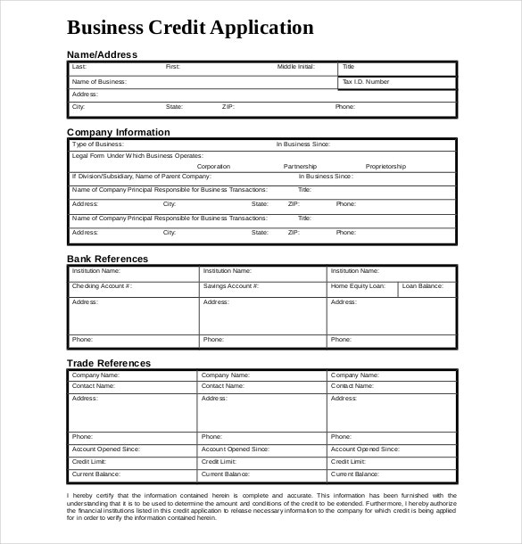 example business credit application