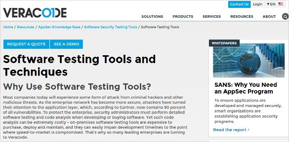 veracode software testing tool
