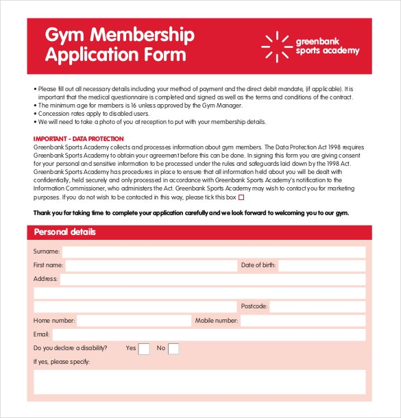 gym membership application pdf format download