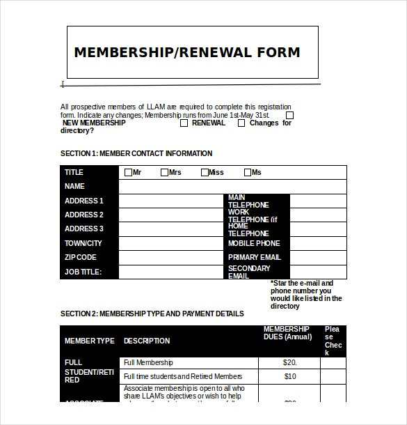 club membership application template free download
