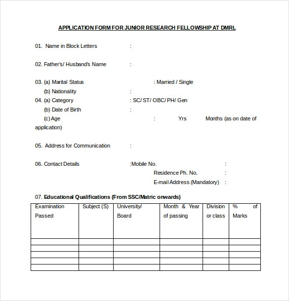 15 internship application templates free sample example format sample application form for junior research felloship free download thecheapjerseys Choice Image