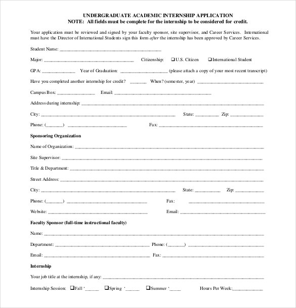 15 Internship Application Templates Free Sample Example – Application Form