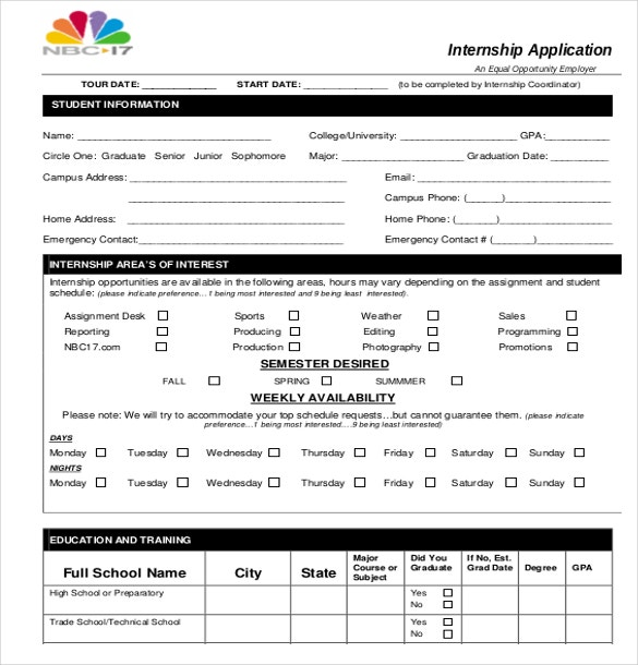 15 internship application templates free sample example format