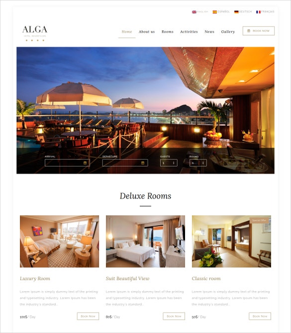 hotel resort coupon wordpress template