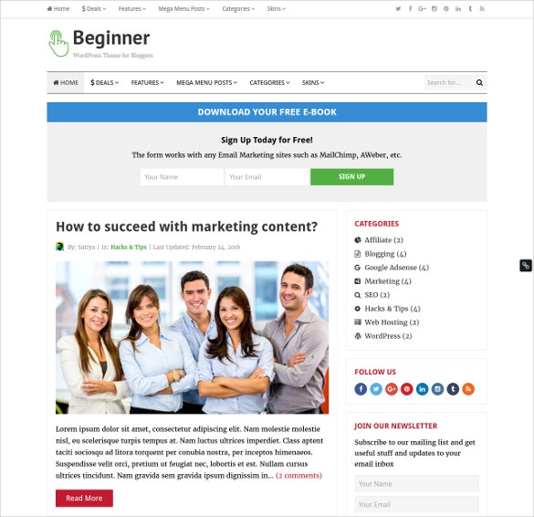 business blog coupon wordpress template