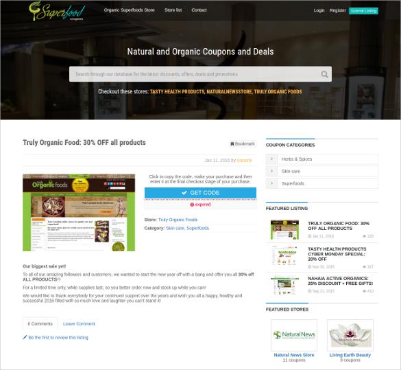 premium groceries couponpress child theme