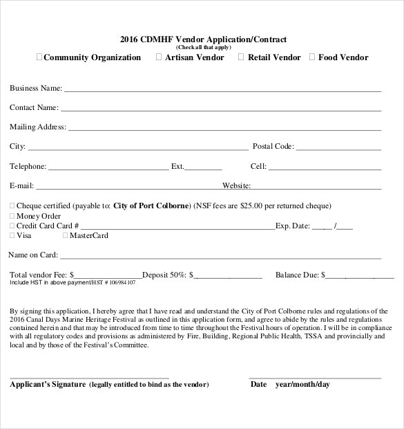 sample vendor participant application form download