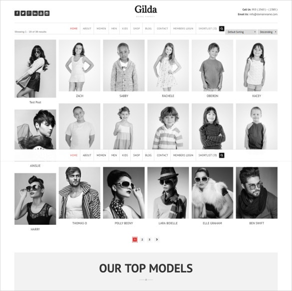 actor model agency wordpress cms theme