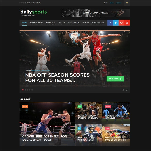 black blog daily sports website template
