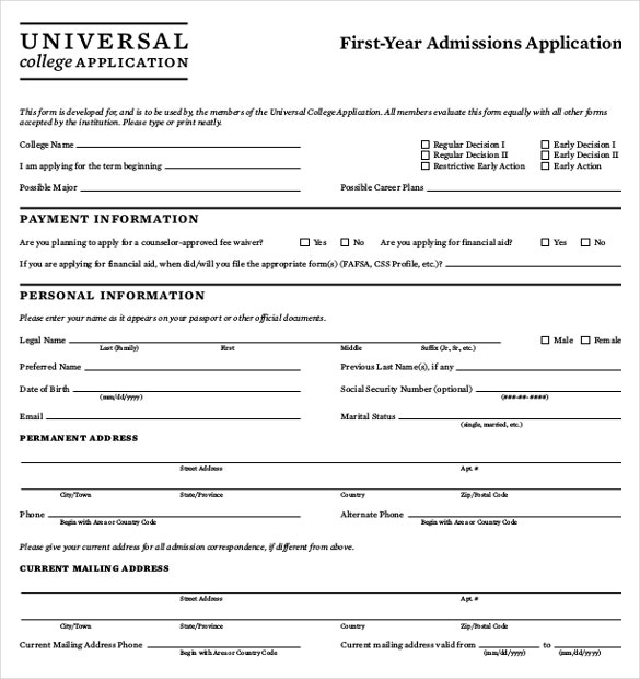 15 college application templates pdf doc free With college application example