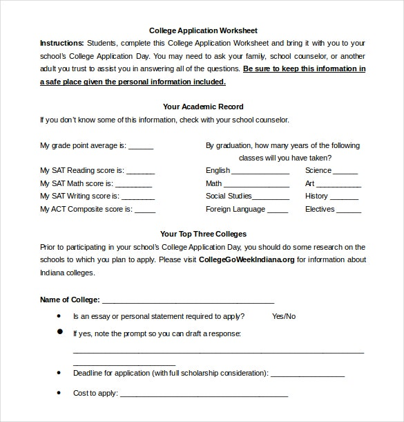 college application worksheet word document free download