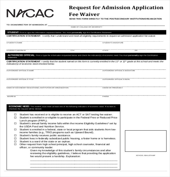 college application fee wavier form free download1