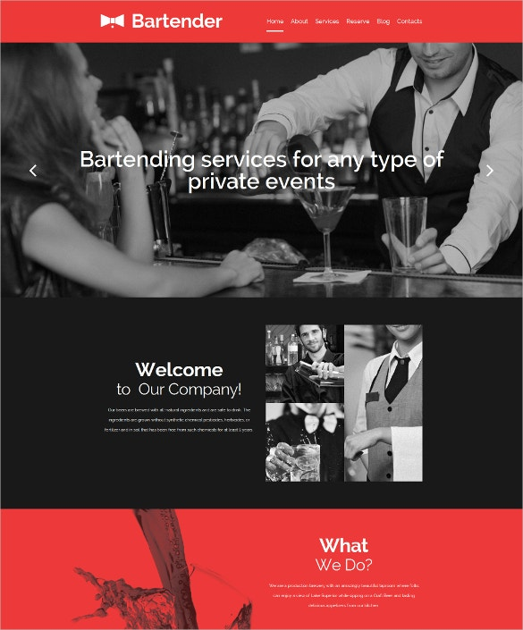 cocktail bar responsive moto cms 3 black blog template