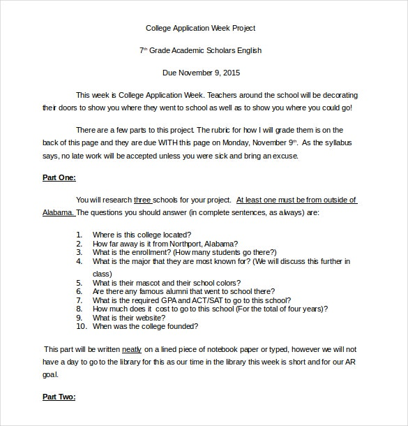 college application week project word document free download1