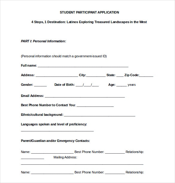 15 College Application Templates Free Sample Example Format – Student Application Form Template