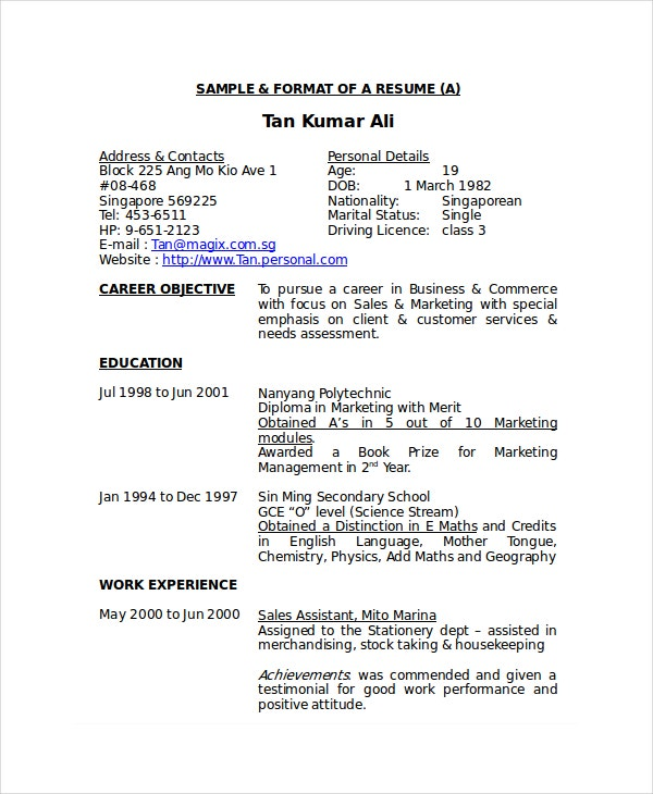 Warehouse Stocker Resume