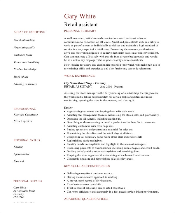 retail assistant stock resume