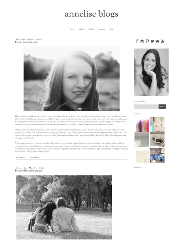 simple black blogger template