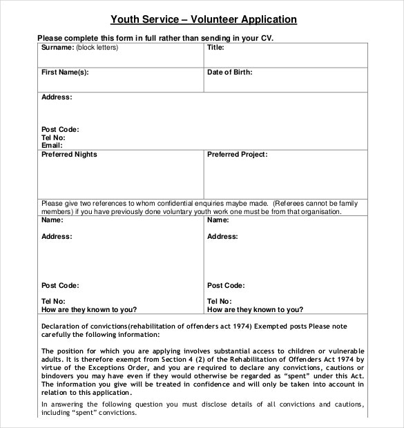 sample youth service volunteer application form free download