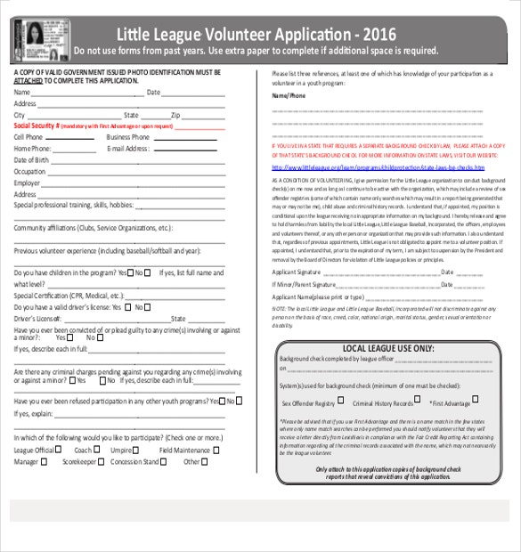 2016 volunteer application template pdf format free download1