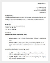 Exceptional Download Resume Sample High School Student Academic