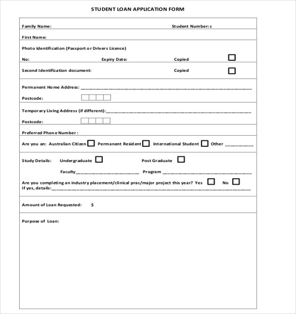 Loan Application Templates 6 Free Sample Example Format – Student Application Form Template