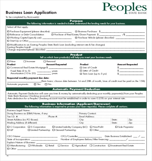 Elegant Example Small Business Loan Application Form Free Download Throughout Loan Form Template