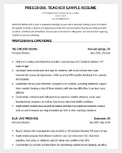 PreSchool Teacher Resume Template Word Editable