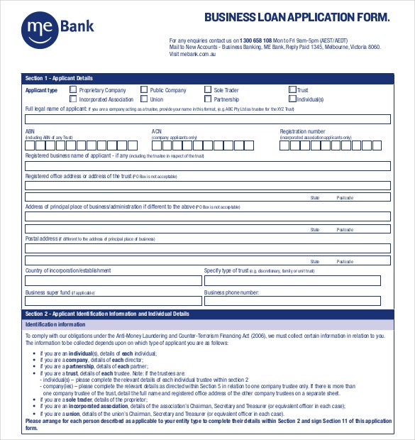 Example MeBank Business Loan Application Form Free Download