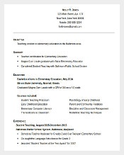 education quickstart teacher resume template free editable