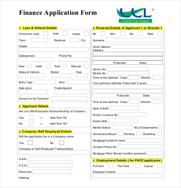 High Quality Free Downloadable Finance Application Form In Loan Form Sample