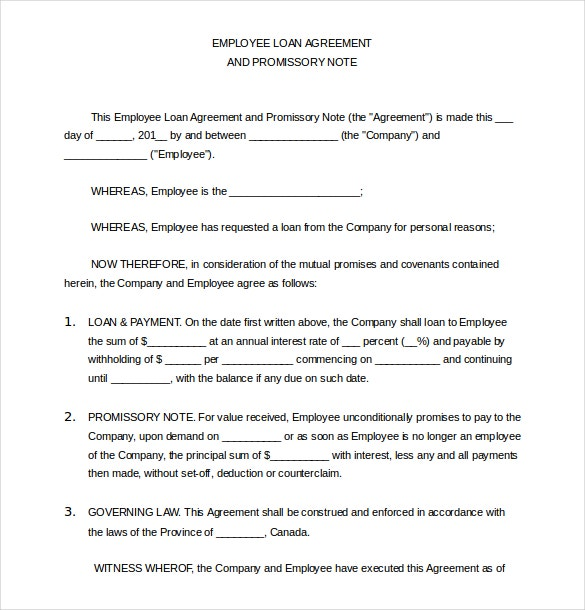 employee loan agreement word document free download1