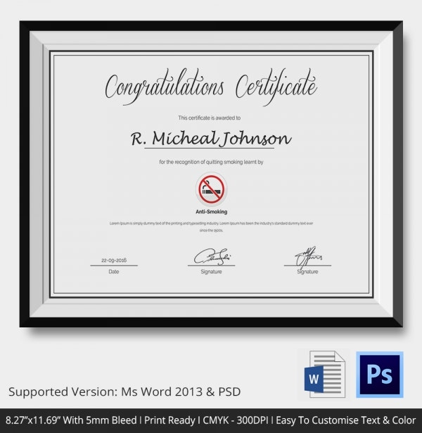 Certificate of Congratulations for Quitting Smoking