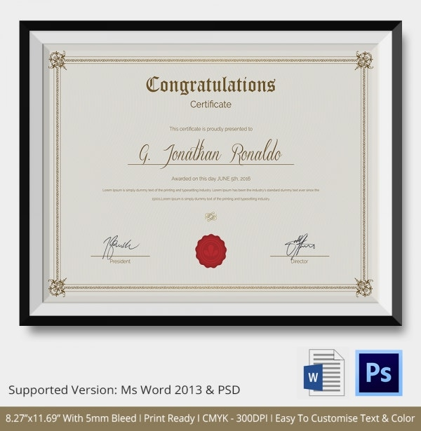 Congratulations Certificate Template 10 Word PSD Documents