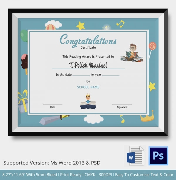 Reading Award Congratulations Certificate Template
