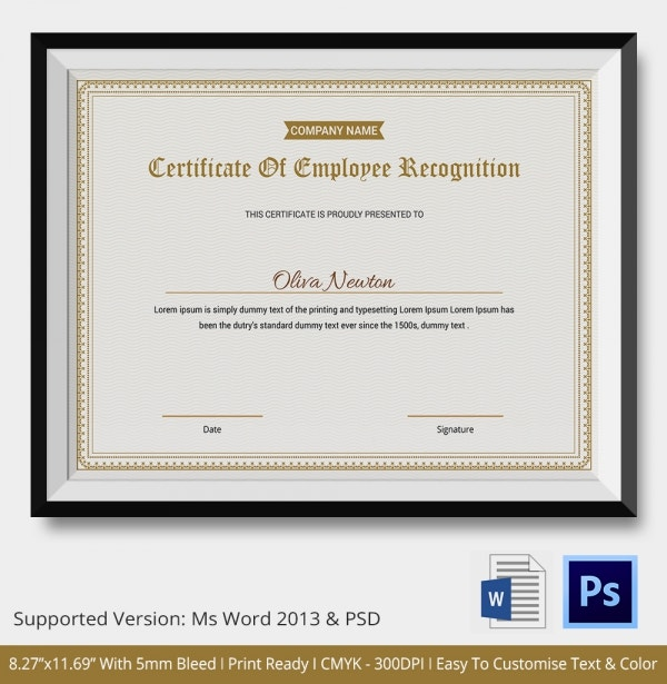 appreciation certificate template for employee - certificate of recognition template 7 free word pdf