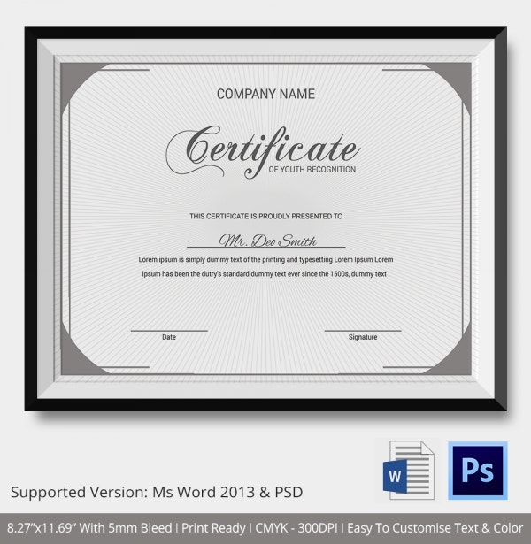 certificate of recognition template � 7 free word pdf