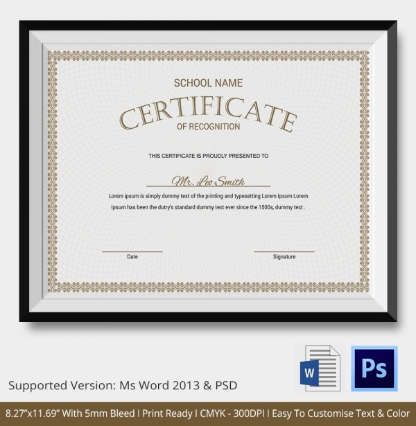 Certificate Of Recognition Template   Free Word Pdf Documents