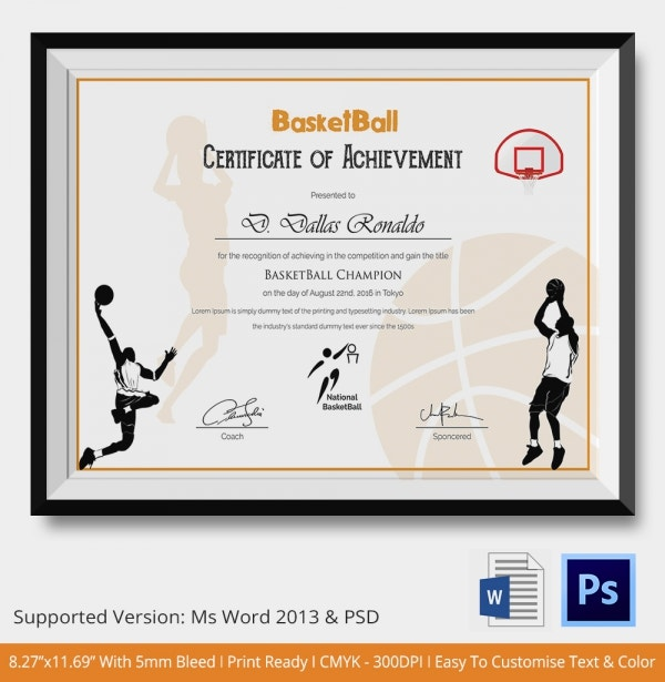 Sports Certificate Template   Word Psd Format Download  Free