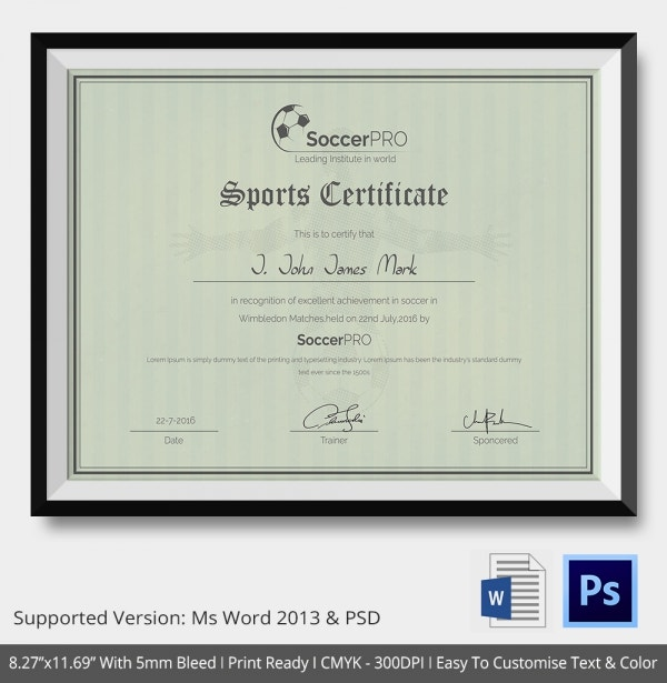 8 Sports Certificate Templates Free Sample Example Format – Sample Training Certificate