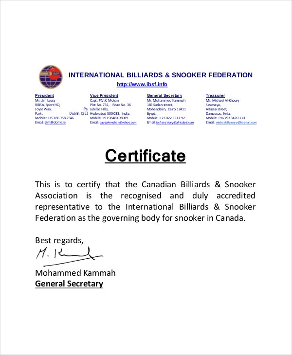 Billiard & Snooker Certificate