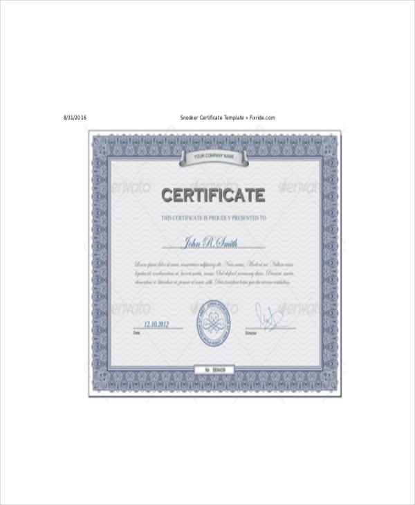 Premium-Snooker-Certificate-Template