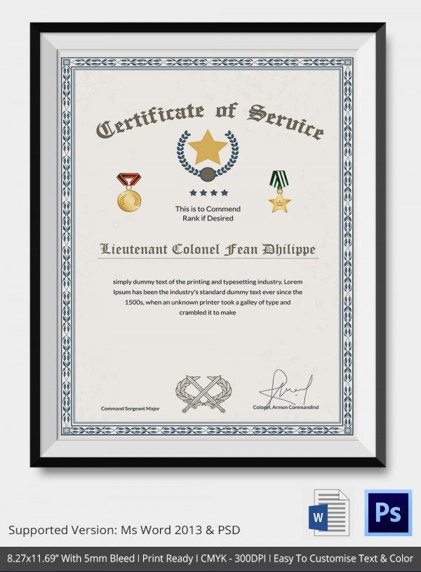 Thank you certificate template 10 free pdf psd vector for Certificate of service template