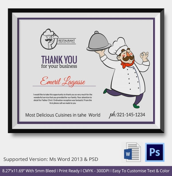 Chef Food Catering Thank You Certificate copy