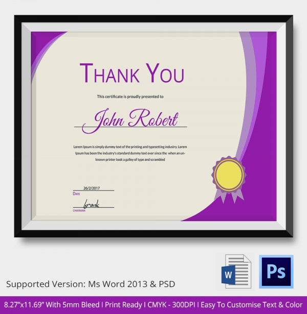 Expression of Thank You Certificate