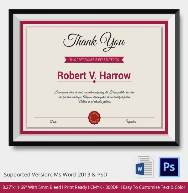 Thank You Certificate PSD Template