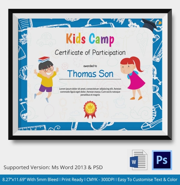 kids participation thank you certificate