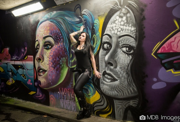 Beautful Girl Face Graffiti Art on Wall by Mathew Bedworth